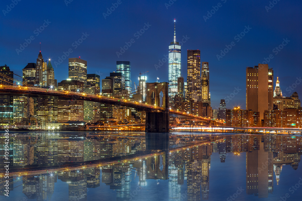 New York - Manhattan Skyline with skyscrapers and Brooklin Bridg