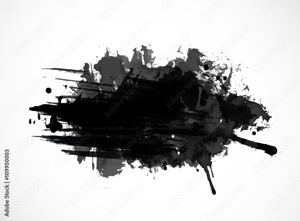 Fototapety, obrazy: Black ink grunge splash isolated on white background
