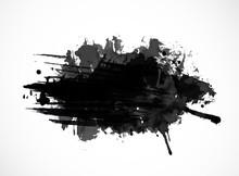 Black Ink Grunge Splash Isolated On White Background