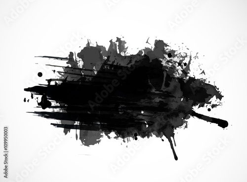 Black ink grunge splash isolated on white background Canvas Print