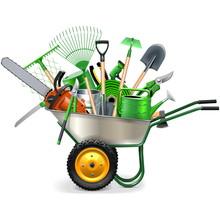 Vector Wheelbarrow With Garden Accessories