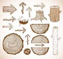 Sketches Of Wood Cuts, Logs, S...