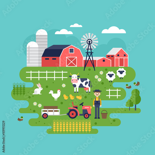 Farm food and animals icons. Healthy eating and lifestyle concep Canvas Print