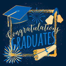 Vector Illustration On Dark Background Congratulations Graduates 2016 Class Of, Color Design For The Graduation Party. Typography Greeting, Invitation Card With Sunburst, Diplomas, Hat, Bells