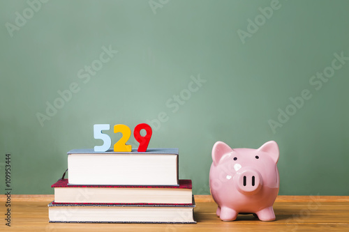 Fotografie, Tablou  529 college savings plan theme with textbooks and piggy bank