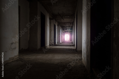 Foto op Plexiglas Wand Abandoned building / View of inside the abandoned building, Halloween background. Dark tone with violet light.