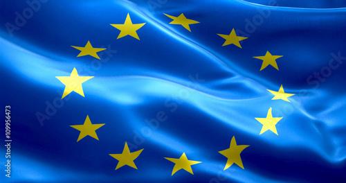 Fototapeta EU flag, euro flag, flag of european union waving