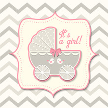 Abstract Vintage Girl Stroller, Baby Shower
