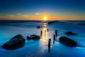 Panel Szklany Industrialny Piękny zachód słońca nad morzem