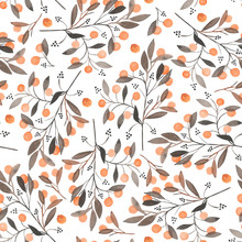 Seamless Pattern With The Orange Berries On The Branches, Hand Drawn In A Watercolor On A White Background, Background For Your Card And Work, Hand Drawn In A Pastel
