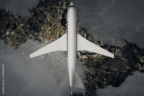 Fotografie, Obraz  Airplane above night landscape