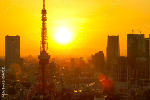 Poster Tokyo cities with sunset