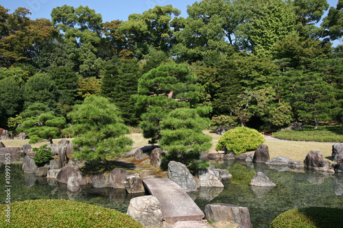 a garden in nijojo castle, kyoto, japan - 109971053