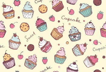 FototapetaSeamless background with cupcakes. Vector pattern