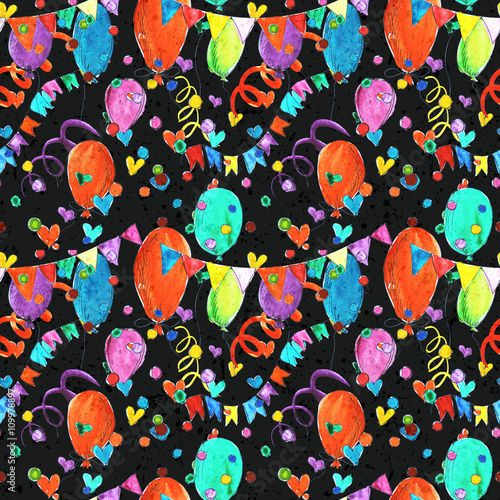 Cotton fabric Holiday celebration party event watercolor colorful seamless background