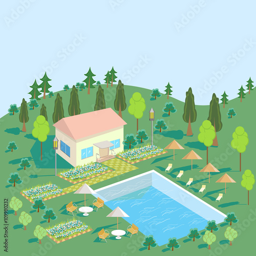 Fototapety, obrazy: House in nature with pool, trees, Seating area. Green summer landscape