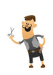 cartoon character cheerful stylist with scissors