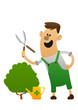 cartoon character cheerful gardener with clippers