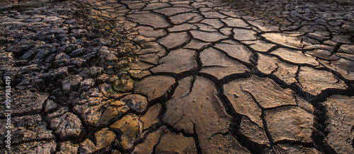 Fotografía  cracked clay ground, drought land background