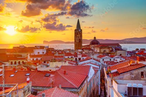 A sunset over Alghero city, Sardinia Canvas Print