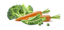 Carrot Broccoli Peas Isolated On White Background As Baby Food Package Design Element