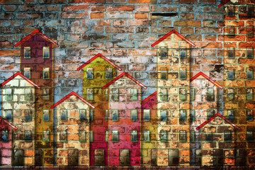 Public housing concept image painted on a brick wall