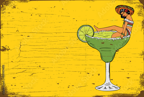 Fotografie, Obraz  Vintage Margarita Bar Sign, Illustration of Mexican woman in a margarita glass