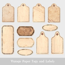 Set Of Grungy Paper Tags And Labels