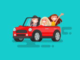 Three girlfriends are riding to a gig. Vector illustration
