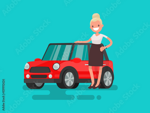 Staande foto Cartoon cars Giirl next to a small red car. Vector illustration