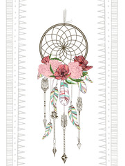 Panel Szklany Boho Vector hand drawn illustration of dreamcatcher. Traditional boho chic romantic decoration, with aztec arrows, feather and flowers.
