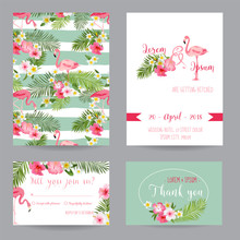 Save The Date - Wedding Invitation Or Congratulation Card Set - Tropical Flamingo Theme
