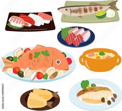 Fotografía  魚を使った料理のイラストセット