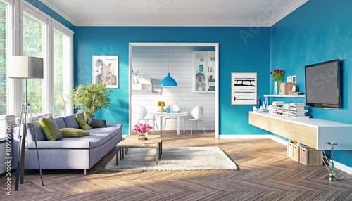 Valokuvatapetti modern living room