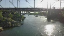 Slow Motion Rising Aerial Of The American River In Folsom California