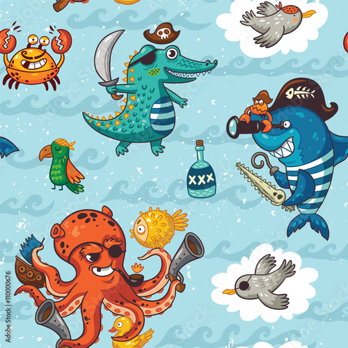 Cotton fabric Seamless pattern with underwater pirates, crocodile, octopus, shark, crab