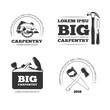 Carpentry, workshop vector labels, logos, badges and emblems with carpentry tools. Emblem carpentry, logo carpentry, carpentry instrument illustration