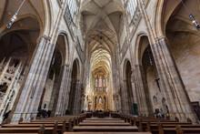 Interior Of St. Vitus Cathedral, Prague, Czech Republic.