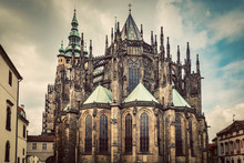 St. Vitus Cathedral, Prague, Czech Republic. Wide Angle. Vintage