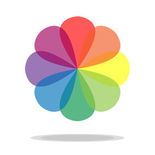 Rainbow Colorful Transparent Circle Flower Icon Vector