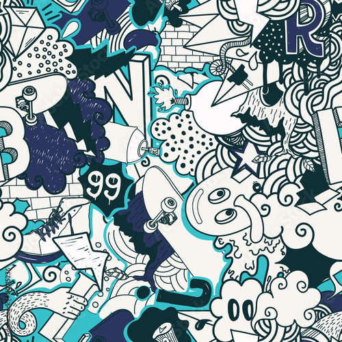 Foto op Aluminium Graffiti Graffiti colorful seamless pattern