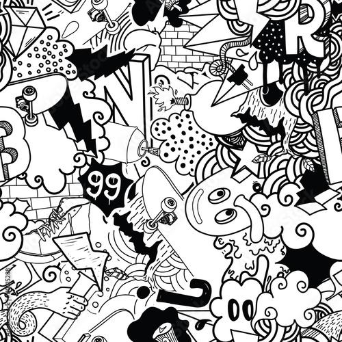 Foto op Aluminium Draw Graffiti colorful seamless pattern