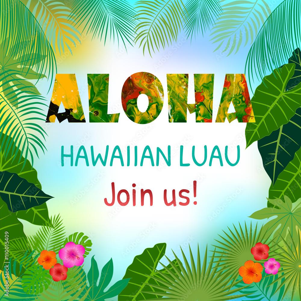 Fotografia Aloha Hawaiian Party Template Invitation