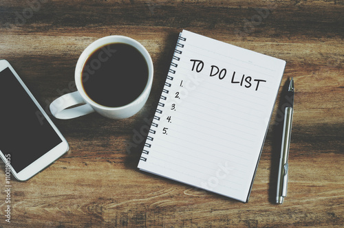 """Smart phone, coffee, pen and notepad with text """" to do list"""", retro style Poster"""