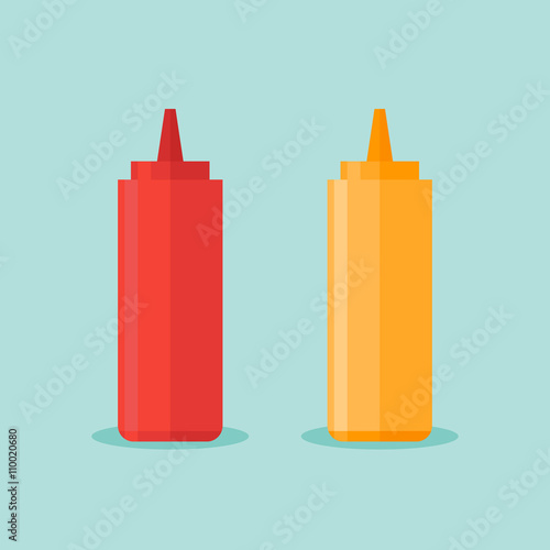 Fotografía  Bottles of ketchup and mustard isolated on blue background