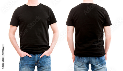 Fotografía Front and back view tshirt template.
