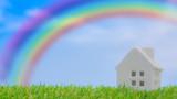 Fototapeta Tęcza - 虹と家
