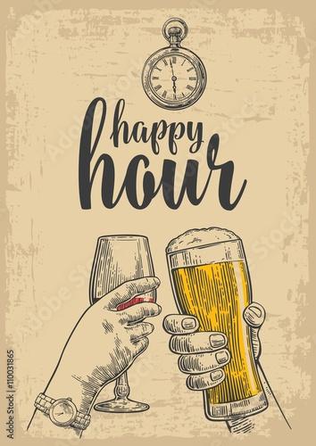 dwie-rece-brzecza-szklanka-piwa-i-kieliszkiem-wina-rysowany-element-projektu-sztuka-wektor-wygrawerowanym-ilustracja