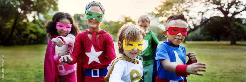 Fototapety, obrazy: Superhero Kids Aspiration Imagination Playful Fun Concept
