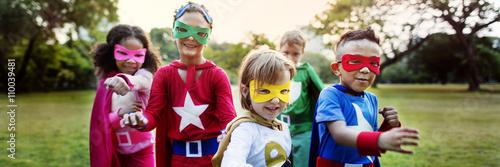 Fotografie, Tablou  Superhero Kids Aspiration Imagination Playful Fun Concept